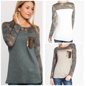 Charcoal Camo Top with Sequin Pocket